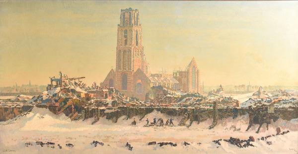 'Sint-Laurenskerk in Rotterdam na het bombardement' - olieverf op doek: Reinier Bakels
