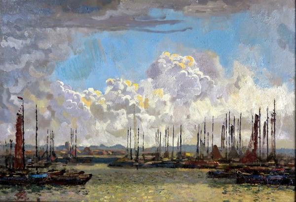 'Haven Oudeschild, Texel' - olieverf op doek: Reinier Bakels (herkomst: voorm. coll. Galerie Niemeijer)