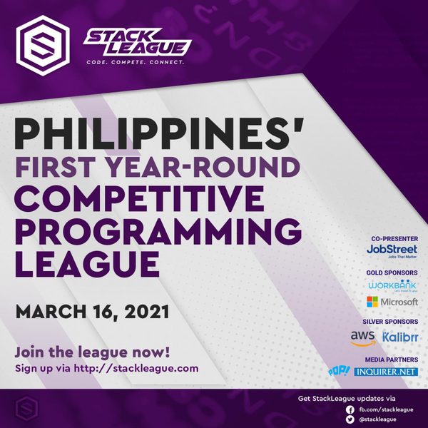 Calling all developers! You're invited to StackLeague Official Launch, Philippines' 1st Year-Round Programming League happening on March 16 (Tue) 6PM to live streamed on  https://www.facebook.com/stackleague.