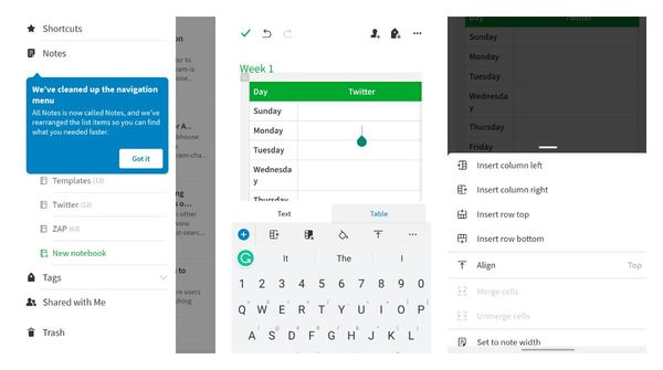 Evernote made it possible to edit tables in their Android beta app