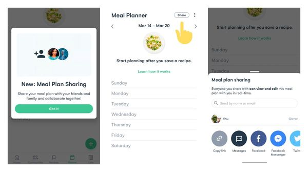 Whisk app introduced meal plan sharing on Android beta