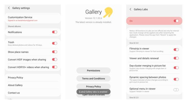 How to enable experimental Labs features on Samsung Gallery