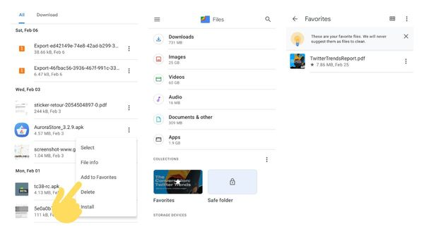 Google Files beta got favourites folder to store files that you don't want to clean accidentally