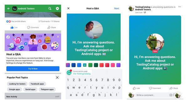 Facebook promotes starting Q&A sessions to group admins on Android