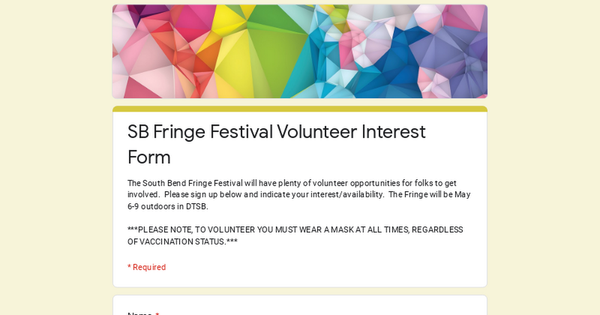 SB Fringe Festival Volunteer Interest Form