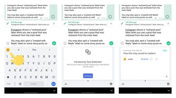 Grammarly beta for Android now supports text tone detection