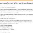Founders Stories #002 w/ Simon Pound | Thur 25th Mar 4.30pm | WS222, AUT City Campus, Auckland