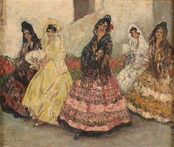 'Spaanse flamenco danseressen' - olieverf op paneel: Louis van Soest (kavel 1020 Twents Veilinghuis)