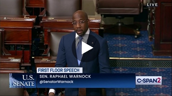 In his first speech on the Senate floor, Sen. Raphael Warnock (D-GA) condemns anti-Asian violence, shares the story of his ancestors, and persuades his colleagues to pass the For the People Act. It's powerful. (22 min)