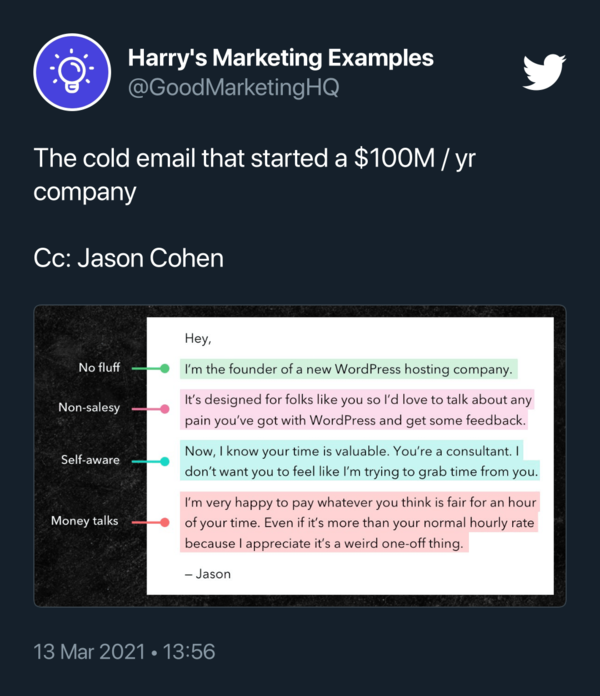 Best example of a converting cold email, by @GoodMarketingHQ