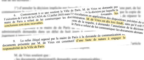 Delen uit de uitspraak van de rechter in De Vries vs. de Burgemeester van Parijs