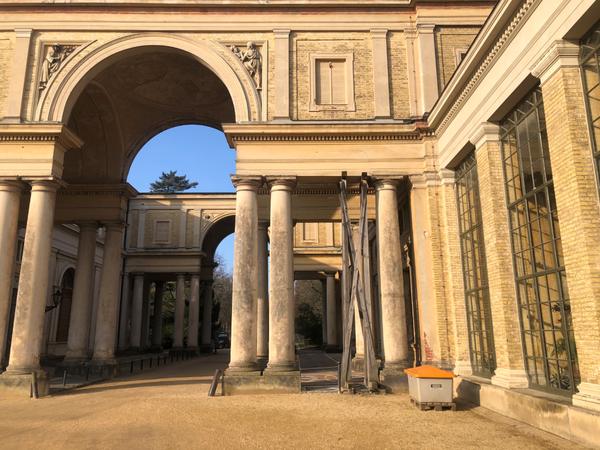 Das Holzgerüst steht am Orangerieschloss im Park Sanssouci. Foto: Peter Degener