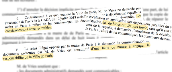 Excerpts of the ruling by the Tribunal administratif Paris, March 11, 2021
