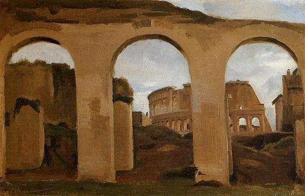 The Colosseum, seen through the Arcades of the Basilica of Constantine, oil on canvas, Jean-Baptiste-Camille Corot, 1826.