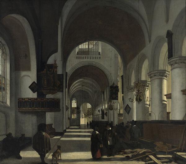 Interior of a Church, oil on canvas, Emanuel de Witte, 1668.