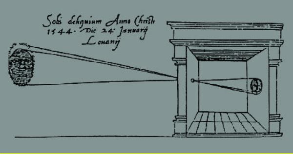 Camera Obscura Concept as drawn by Leonardo da Vinci, 1545.