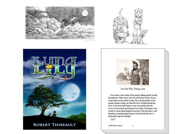 My Chapter book cover, inside pages, and  illustrations.
