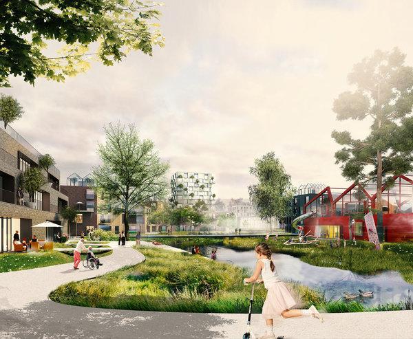 """Der geplante """"grüne Loop"""" in Hamburgs neuem Stadtteil Oberbillwerder"""