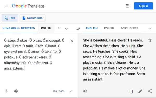 Illustration d'un biais en Machine Learning, sur Google Translate. 👇