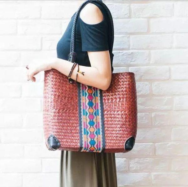 Straw cane handbags