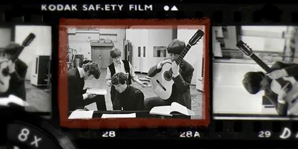Een 'contactsheet' met de beroemde foto van de Beatles (bron: AVROTROS)