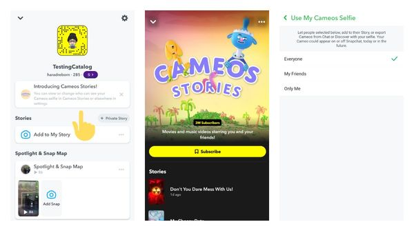 Snapchat pushes Cameos Stories to more users allowing you to specify who can see your face in settings