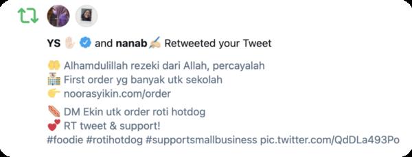 Terima Kasih YS, Young Syefura, RT tweet Ekin! - melalui twitter