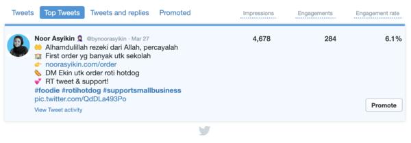 Tweet pertama Ekin kongsi #supportsmallbusiness