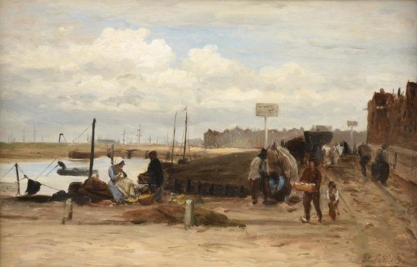 'Bedrijvigheid op een kade (vermoedelijk het IJ bij Amsterdam) - olieverf op paneel: Philip Sadée (kavel 28 Notarishuis Arnhem)