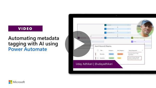 Automating metadata tagging with AI using Power Automate