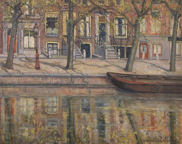 'Lente op de Prinsengracht' - olieverf op paneel: Agatha Zethraeus
