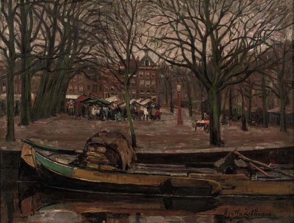 'Activiteiten aan het Amstelveld' - olieverf op doek: Agatha Zethraeus (herkomst: Christie's Amsterdam)