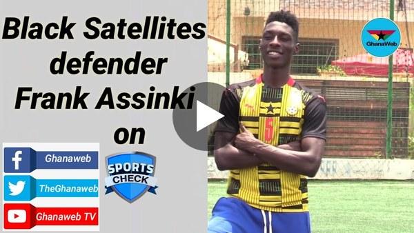 Sports Check with Black Satellites defender Frank Assinki