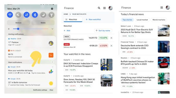 Google is pushing new stock market watchlist notifications along with an updated finance layout