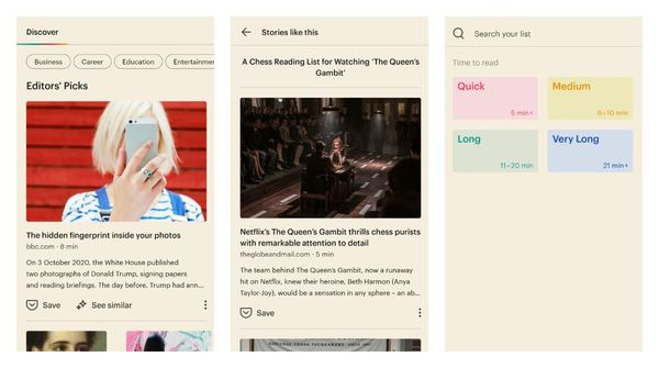 Pocket beta for Android adds new sections to discover feed along with new search filters