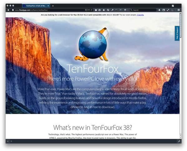 TenFourFox, as seen in a special dark theme, circa 2016.