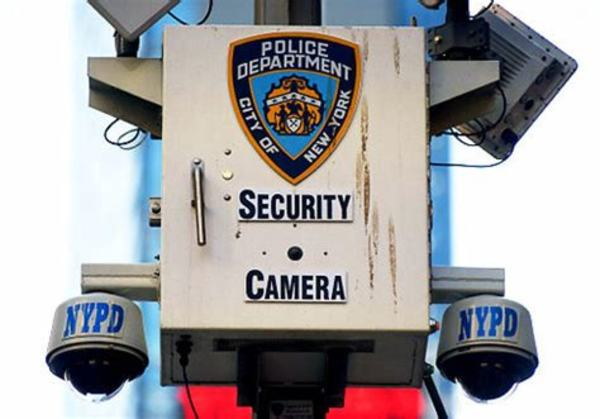 NYPD Security cameras in the heart of Times Square. New Yorkers are thinking about security after the failed car bombing attempt of Faisal Shahzad. (Warga/News). Mayor Bloomberg is visiting London to observe its security camera network. May 2010.