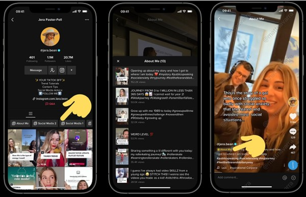 TikTok playlists [Screenshots compiled by Social Media Today]