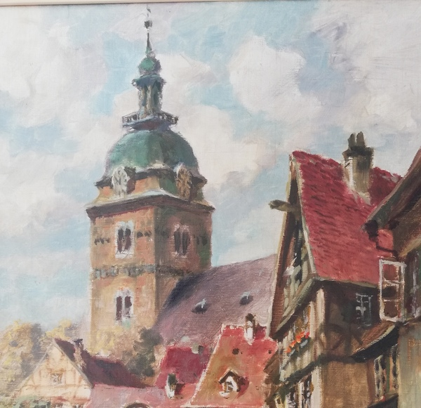 Otto Hunte malte um 1930 die Gotthardtkirche - mit fiktivem Umfeld. (Foto: Sammlung: Hesse)