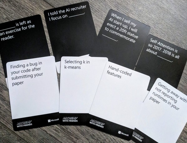 ML-themed Cards Against Humanity cards (Credit: Caroline Pelletier)