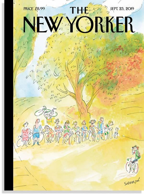 """Dernière couverture du """"New-Yorker"""" signée Sempé en sept. 2019)"""