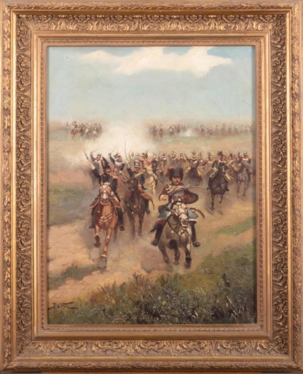 'Aanstormende cavalerie' - olieverf op doek: Justus de Veer (Veilinghuis Peerdeman kavel 4387)