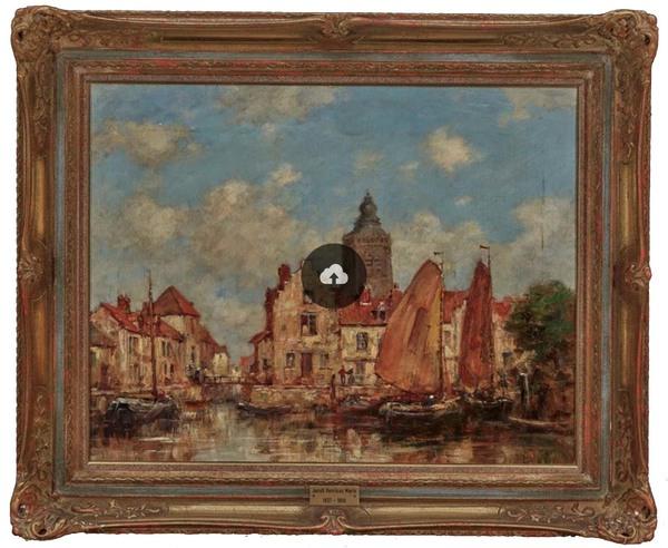 Jacobus Hendricus Maris - Boote in niederländischer Stadt | Auktion 400