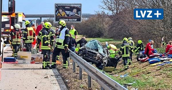 Schwerer Unfall auf Autobahn 14 bei Leipzig: Vier Verletzte