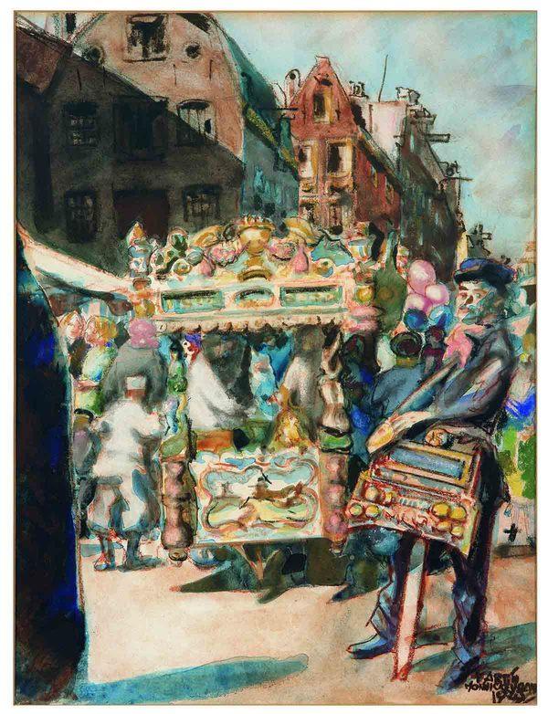 'IJskar en draaiorgeltje op het Waterlooplein, Amsterdam' - aquarel en krijt: Martin Monnickendam (kavel 4653 - Veilinggebouw de Zwaan)