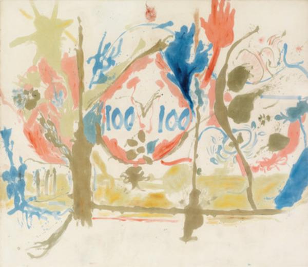 "Helen Frankenthaler, Eden, 1956, oil on canvas, 103 x 117""."