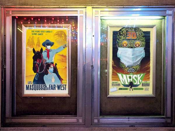 The story behind those mysterious masked posters at Grand Lake Theater in Oakland | SF Gate