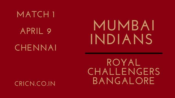 IPL 2021 MI vs RCB Match 1