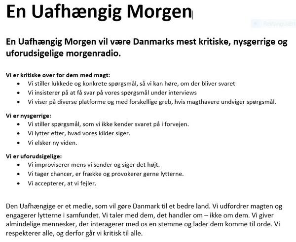 Manifest for Den Uafhængiges morgenradio