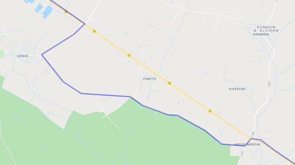 Unsere Wanderung führt von Groß Werzin über Ponitz nach Uenze. Per Klick auf die Karte geht es zur gesamten Postkutschenroute in Google Maps.
